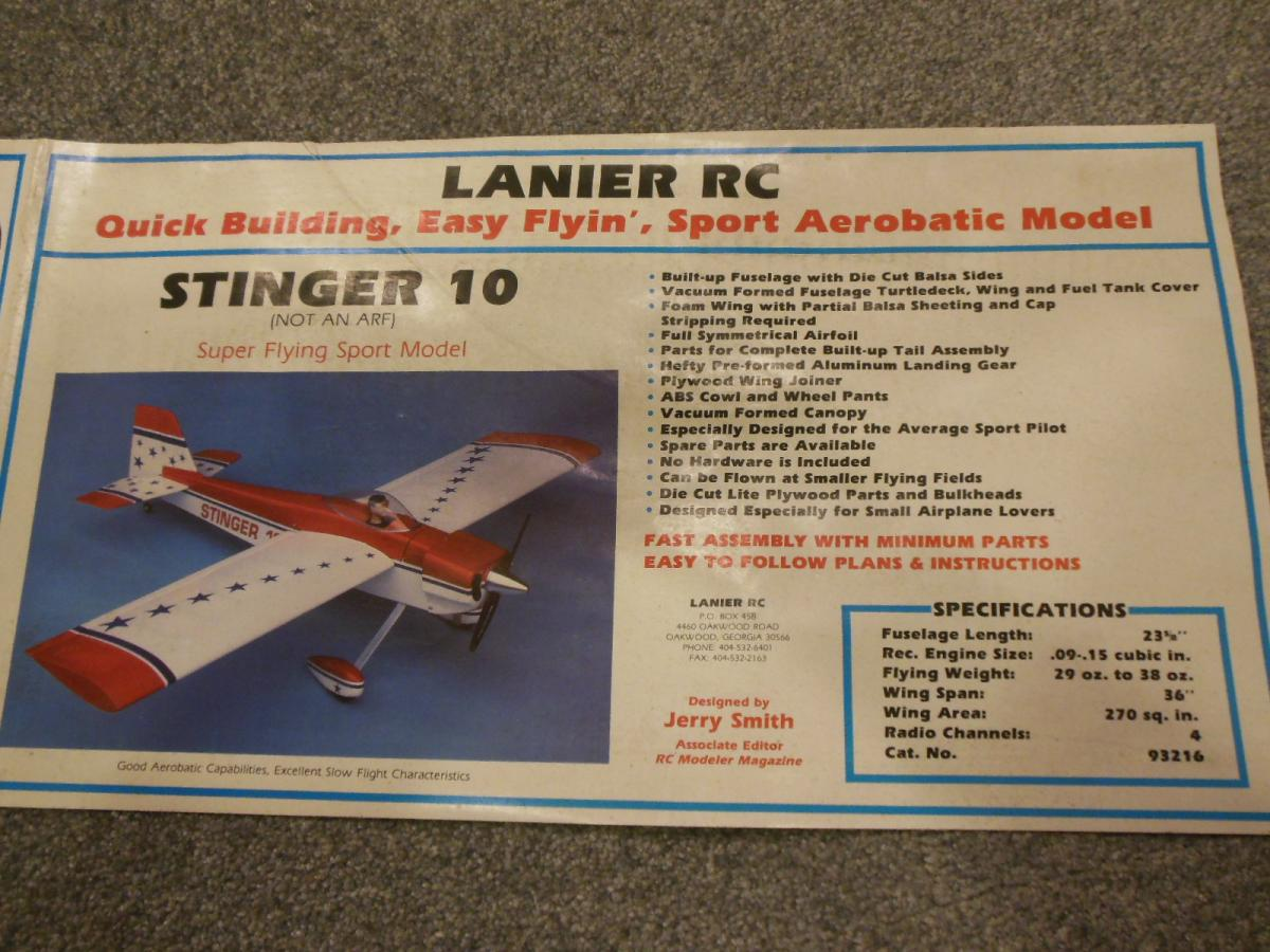 Lanier Rc Stinger 10 Kit Help Me Build One Wattflyer Aircraft Wiring Harness Mounting Hardware There Does Not Seem To Be A Lot Of Info On This Plane So Im Looking For All The I Can Get